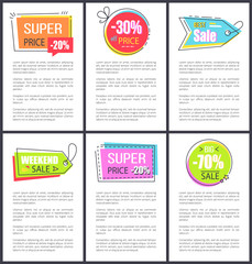 Super Price and Weekend Sale Vector Illustration