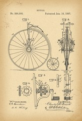 1887 Patent Velocipede Bicycle history  invention