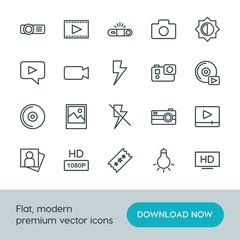 Modern Simple Set of video, photos Vector outline Icons. ..Contains such Icons as  quality,  television,  high,  button, camera, cinema, hd and more on white background. Fully Editable. Pixel Perfect.
