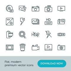 Modern Simple Set of video, photos Vector outline Icons. ..Contains such Icons as  symbol,  design,  photography,  technology,  vector,  tv and more on white background. Fully Editable. Pixel Perfect.