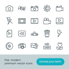 Modern Simple Set of video, photos Vector outline Icons. ..Contains such Icons as microphone, image,  video,  compact,  quality,  camera and more on white background. Fully Editable. Pixel Perfect.