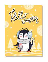 Hello Winter Bright Postcard Vector Illustration