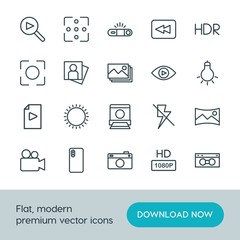Modern Simple Set of video, photos Vector outline Icons. ..Contains such Icons as  television,  sky,  summer,  video,  panoramic,  vhs, hd and more on white background. Fully Editable. Pixel Perfect.