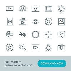 Modern Simple Set of video, photos Vector outline Icons. ..Contains such Icons as camera,  lens,  media,  travel,  background, light,  icon and more on white background. Fully Editable. Pixel Perfect.