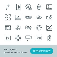 Modern Simple Set of video, photos Vector outline Icons. ..Contains such Icons as  cd,  photography,  lens,  photo,  fashion,  back, video and more on white background. Fully Editable. Pixel Perfect.