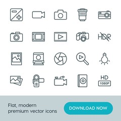 Modern Simple Set of video, photos Vector outline Icons. ..Contains such Icons as  camera,  design, camera,  internet, movie,  quality,  cd and more on white background. Fully Editable. Pixel Perfect.