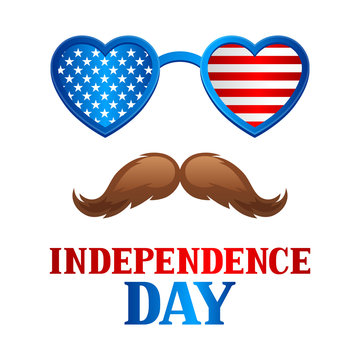 Independence Day patriotic illustration. American flag glasses with stars and stripes