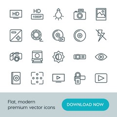 Modern Simple Set of video, photos Vector outline Icons. ..Contains such Icons as  photography, background,  iso, hd, image,  lamp,  media and more on white background. Fully Editable. Pixel Perfect.