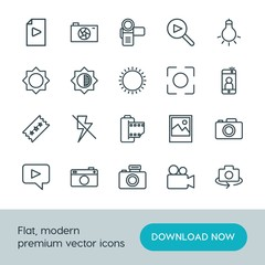 Modern Simple Set of video, photos Vector outline Icons. ..Contains such Icons as dark,  summer,  television,  symbol, camera,  photography and more on white background. Fully Editable. Pixel Perfect.