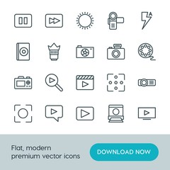 Modern Simple Set of video, photos Vector outline Icons. ..Contains such Icons as  scroll,  icon, rewind,  summer,  picture,  phone,  photo and more on white background. Fully Editable. Pixel Perfect.