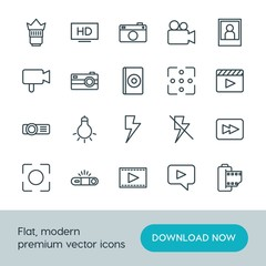 Modern Simple Set of video, photos Vector outline Icons. ..Contains such Icons as  space,  concept,  internet,  cinema, bulb,  flash,  lamp and more on white background. Fully Editable. Pixel Perfect.