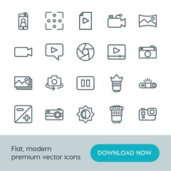 Modern Simple Set of video, photos Vector outline Icons. ..Contains such Icons as  action,  symbol,  internet,  phone,  gift, camera, video and more on white background. Fully Editable. Pixel Perfect.