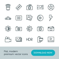Modern Simple Set of video, photos Vector outline Icons. ..Contains such Icons as  nature, lens,  movie,  digital,  photo,  film,  capture and more on white background. Fully Editable. Pixel Perfect.