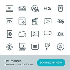 Modern Simple Set of video, photos Vector outline Icons. ..Contains such Icons as  illustration,  photography, camera,  media,  movie,  cd and more on white background. Fully Editable. Pixel Perfect.