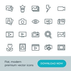 Modern Simple Set of video, photos Vector outline Icons. ..Contains such Icons as  landscape,  video,  set,  panoramic, play, image,  media and more on white background. Fully Editable. Pixel Perfect.