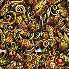 Cartoon cute doodles hand drawn Africa seamless pattern