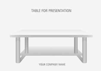 White vector 3d platform, rectangular  table. Template for presentation of goods.