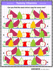 Fruit and berry vitamins themed IQ training picture puzzle: Match the pairs - find the exact mirrored copy for every row. Answer included.