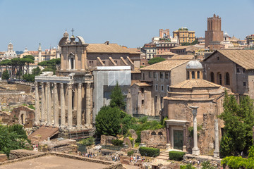 Amazing view of Roman Forum and Capitoline Hill in city of Rome, Italy