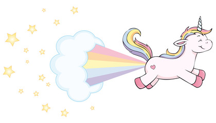 cute unicorn farting rainbow with stars and cloud