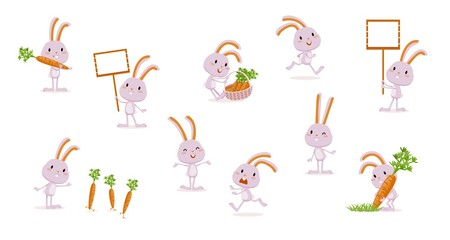 Rabbit with carrots Collection of isolated characters Hare runs, jumps, laughs, grows vegetables, harvests, rejoices, gets angry, upset, etc Big set of cute emotional characters Vector illustration