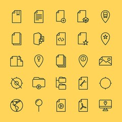 Modern Simple Set of location, folder, files Vector outline Icons. ..Contains such Icons as  journey,  file,  marketing,  bookmark,  data and more on yellow background. Fully Editable. Pixel Perfect.