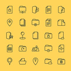 Modern Simple Set of location, folder, files Vector outline Icons. ..Contains such Icons as business, network, textile, security, data and more on yellow background. Fully Editable. Pixel Perfect.