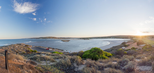 Panoramic view of Kalbarri Chinaman Beach, where the Murchison River meets the Indian Ocean
