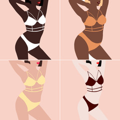 Set of female bodies types figures. Set of beautiful silhouettes of women in underwear of different body type. Plus size and thin girls. Vector illustration on beige background in pop art style.