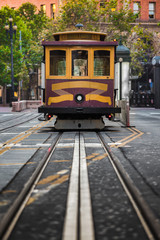Historic San Francisco Cable Car on California Street, USA