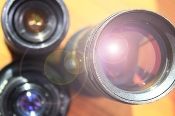 Photographic lens. Modern camera lenses with reflections. Modern camera lenses with reflections