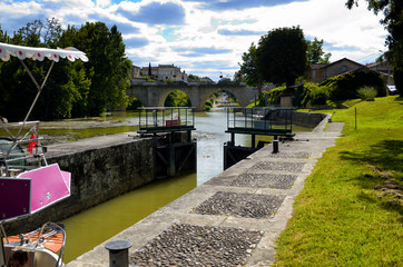 A lock gate on a canal in France