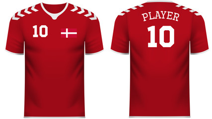 Denmark fan sports tee shirt in generic country colors