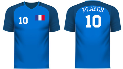 France Fan sports tee shirt in generic country colors