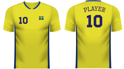 Sweden Fan sports tee shirt in generic country colors