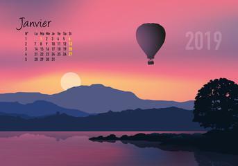 calendrier 2019 - calendrier - montgolfière - 2019 - paysage - janvier - année - mois - hiver - jour férié