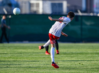 Soccer Player kicking the ball during a game