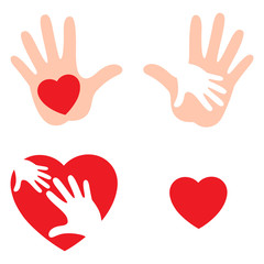 Set of hands raising love with heart, Heart on the open palm. Vector illustration isolated on white background