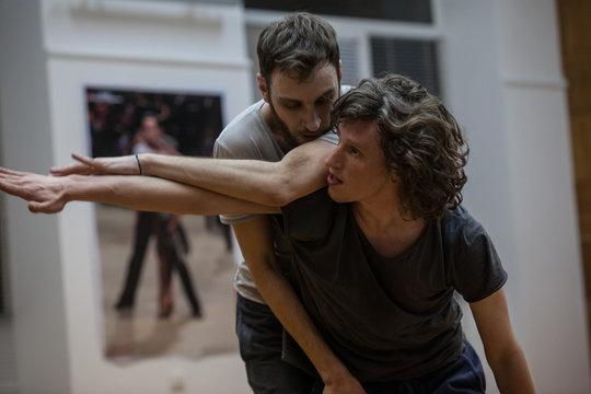 dancers improvise. contemporary dance performing