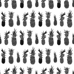 Pineapple hand drawn seamless pattern. Fruit background. Tropical design for vacation textile print. Vector illustration