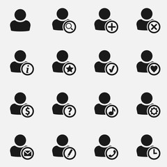Set of user avatar vector icons.