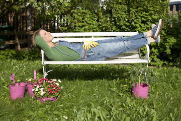 Woman relaxing in the garden,42 years