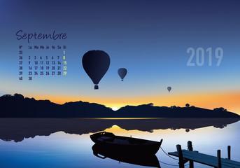 calendrier 2019 - calendrier - montgolfière - 2019 - paysage - septembre - année - mois - automne - jour férié