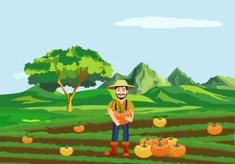 Countryside view vector countryside landscape background, man with pumpkin, cultivated field. Agriculture theme, village. Concept