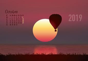 calendrier 2019 - calendrier - montgolfière - 2019 - paysage - octobre - année - mois - automne - jour férié