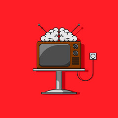 TV television mass media addiction line vector icon. Old tv with brain on it illustration.