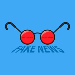 Round glasses with fake news text cartoon line vector icon.