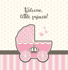 baby shower, pink vintage stroller with royal crown , illustration