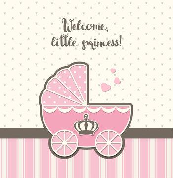 baby shower, pink vintage stroller with royal crown , illustration