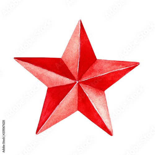 Red Star Painting Five Pointed Shape Rounded Corners Bright Tone